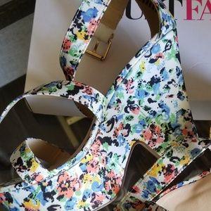 Ellia white multi colored wedge shoe
